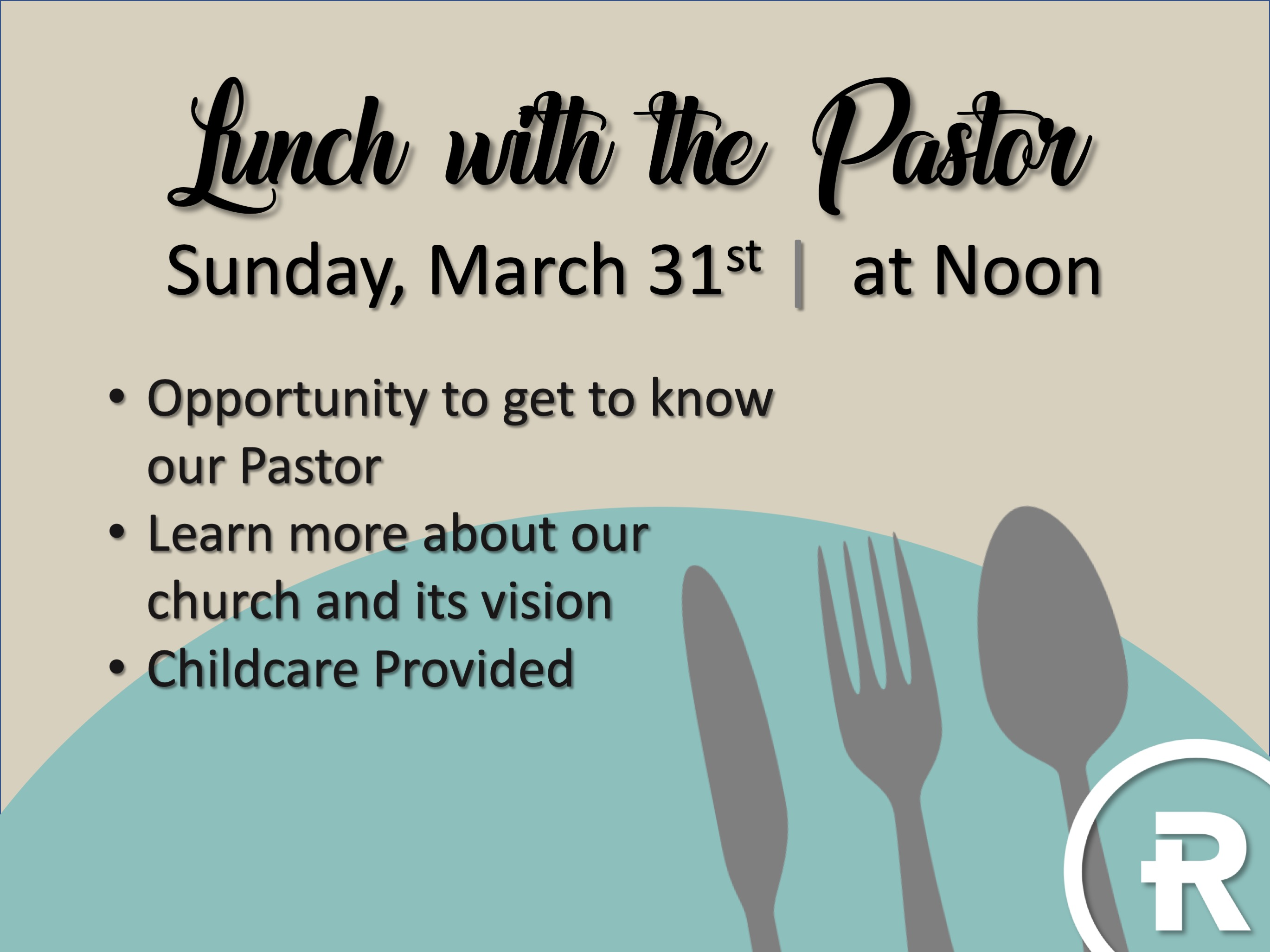 Lunch with the Pastor 3/31/19 logo