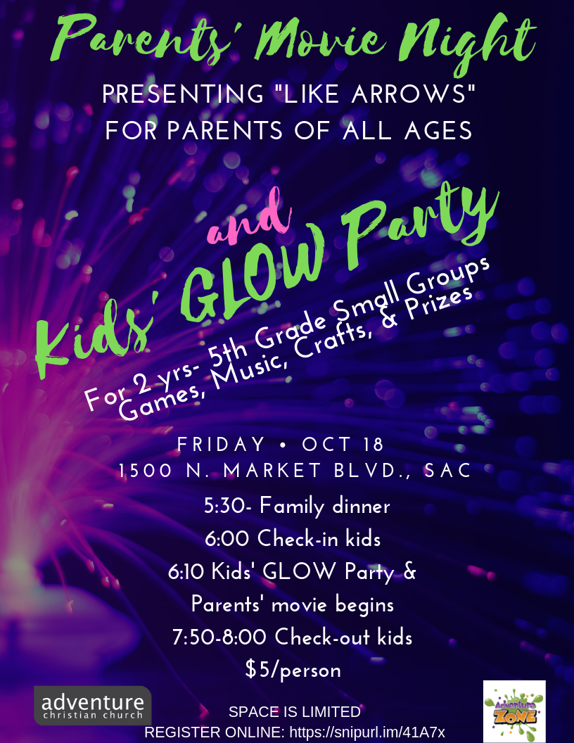 Parents' Movie Night and Kids' Glow Party logo