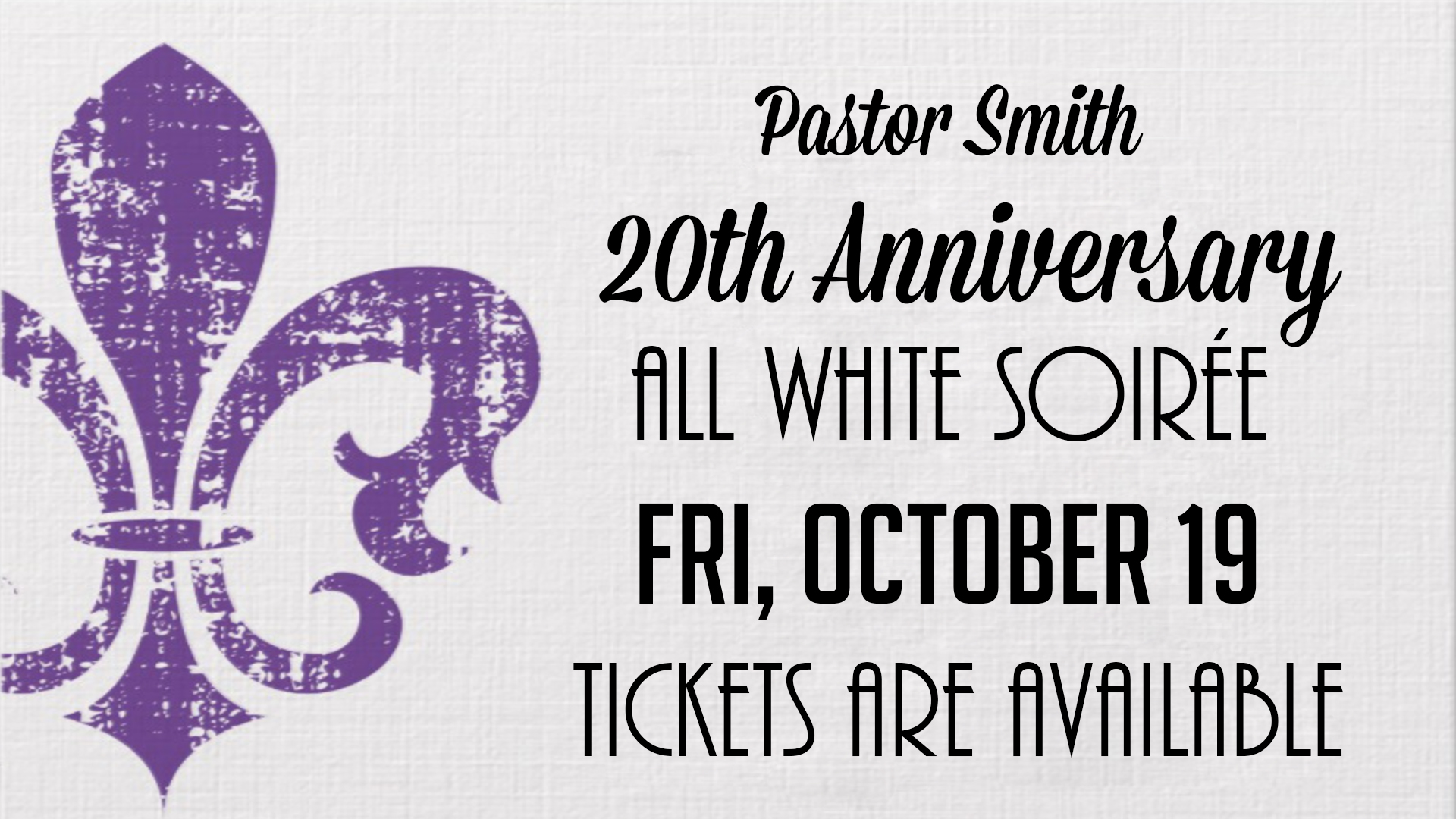 Pastor's 20th Anniversary Soiree logo