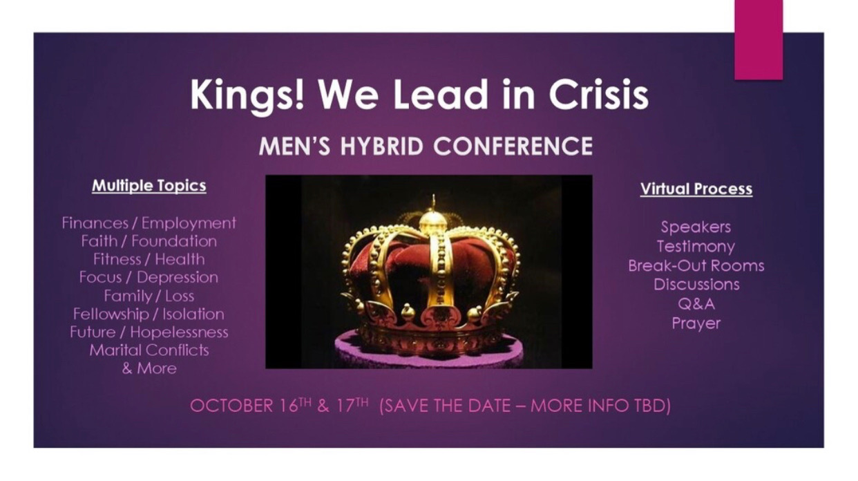 Kings!  We Lead in Crisis!  Men's Hybrid Conference logo
